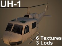 3ds max uh-1 iroquois helicopter single