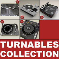turntables set dj 3d c4d