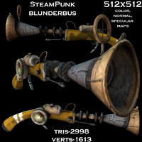 3d fantasy punk blunderbus model