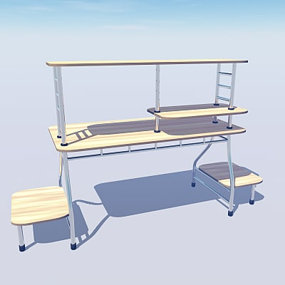 3ds stylish office computer desk - Stylish office computer desk... by vitaloverdose