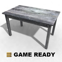 3ds max worn wooden table desk old