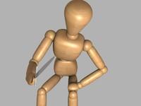 wooden mannequin rigged 3d model