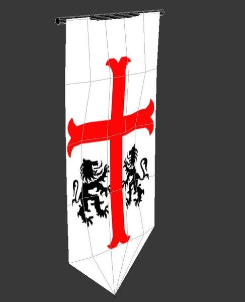 3d Medieval Banner Model
