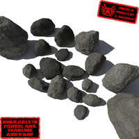 Rocks 2 Grey Smooth RS15 - Dark Grey 3D rocks or stones