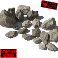Rocks 3 Jagged RS05 - Tan or Grey 3D rocks or stones
