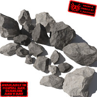 Rocks 6 Jagged RS31 - Gray 3D rocks or stones