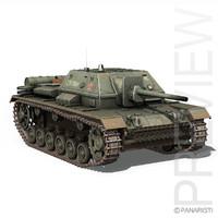 3d su-76i soviet gun -