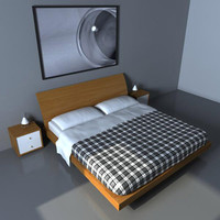 3d bed bedside pillows