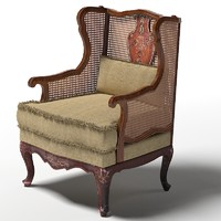classic armchair  wicker wing back