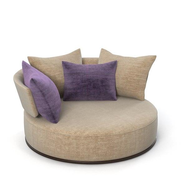3ds max maxalto sofa rounfd for Divan ovalia 05 version 2