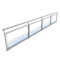3d glass railing model