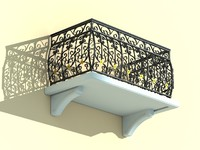 balcony iron fence 3d model