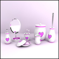 3d modern bathroom accessories model