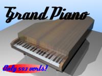 3d grand piano materials model