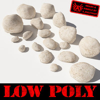 Rocks 5 Low Poly Smooth RS09 - Light Tan or White 3D rocks or stones