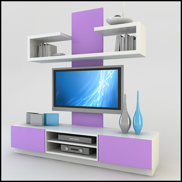 modern tv wall unit 3d model TV  Wall Unit Modern Design X 19  by
