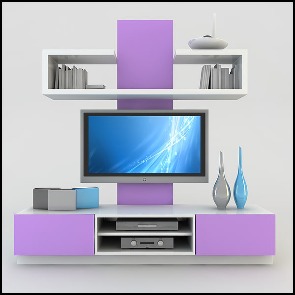 Modern tv wall unit 3d model - Small tv for kitchen wall ...