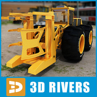 3d wheel feller buncher industrial vehicles model
