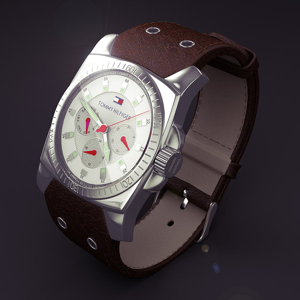 time - 3d model - Wrist watch - classic leather... by RedTrey