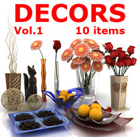 decorative 10 items 3d model