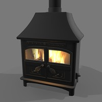 wood burning stove 3d model