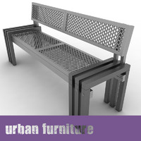 3d max urban furniture bench