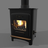 3d model wood burning stove