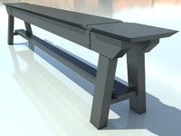 BenchOld NoMat 1- 3D Bench model - Made in 3ds max2010