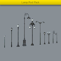 pack lamp posts 3d model