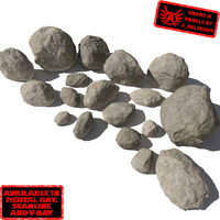 Rocks 3 Smooth RS05 - Tan or Grey 3D rocks or stones