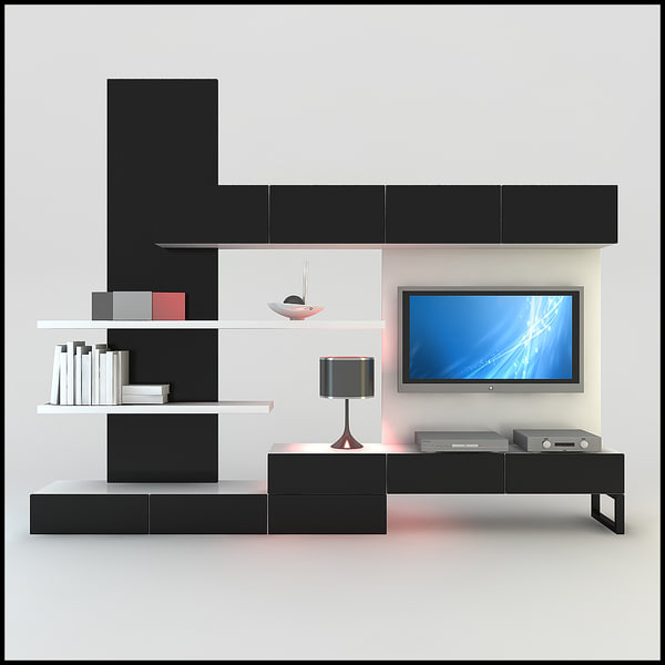 3D 3ds TV Wall Unit
