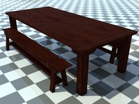 Table And Bench Old 1 - 3D Old Wooden Bench and Table model - Includes Wood and Metal Material - Made in 3ds max2010
