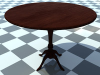 Table Small Round 1 - 3D Small Wooden Table model - Includes Wood Dark_1 Material - Made in 3ds max2010