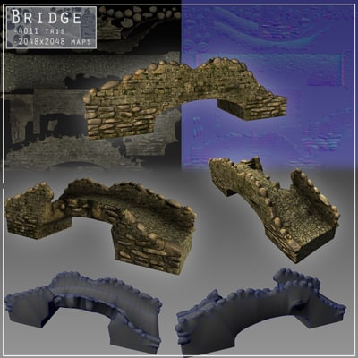 stone bridge 3d model - 3d Stone bridge... by maywst