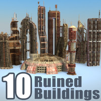 3d postnuclear buildings set ruined