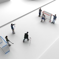 children playing hockey 3d model