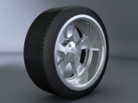 3d 5 spoke alloy wheel model