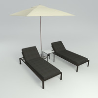 pool lounge set 3d model