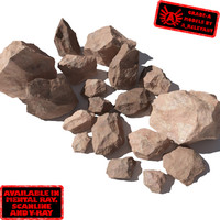 Rocks 4 Jagged RS03 - Light Red or Orange 3D rocks or stones