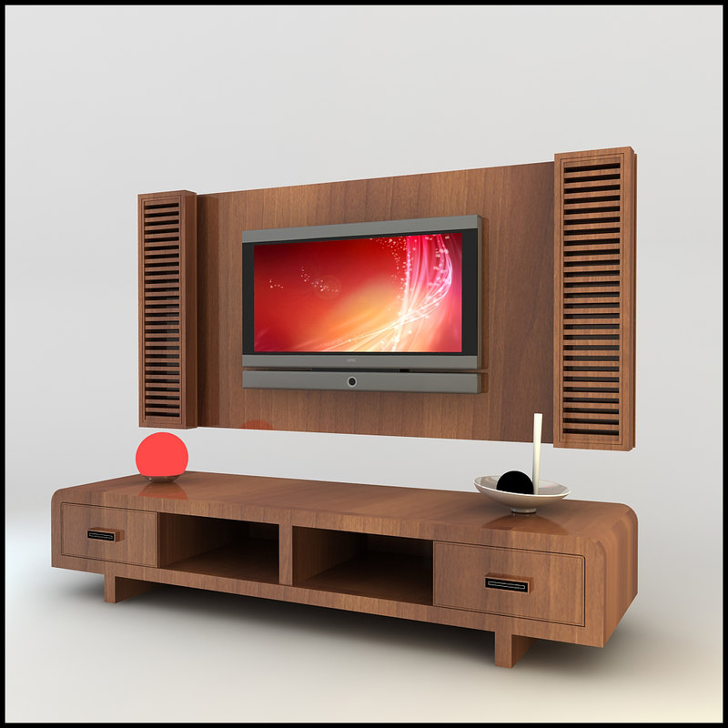 3d model modern tv wall unit Tv unit designs for lcd tv