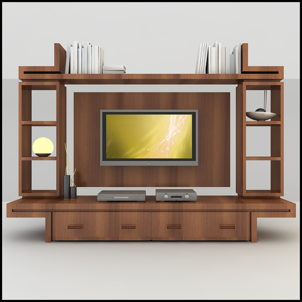 Modern tv wall unit 3d model for 3d decoration models