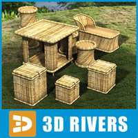 3ds max cane furniture set