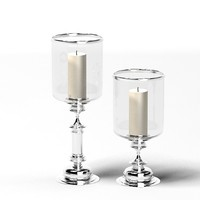 glass chrome candle holder big