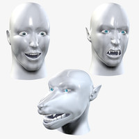 Complete Human Head + Vampire & WereWolf