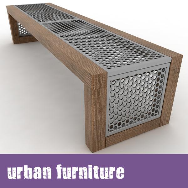 Modus Furniture Urban Seating Storage Bench Natural Linen: Urban Furniture Bench 3d Model