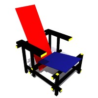 red blue chair rietveld 1918