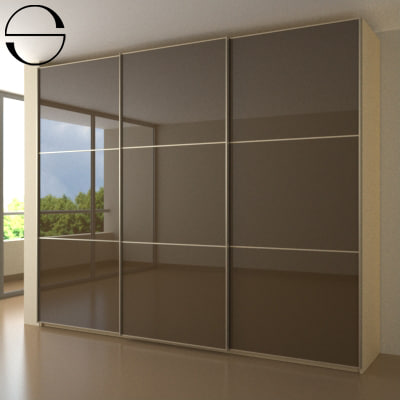 wardrobe sliding doors 3d model - Wardrobe 4a... by s_design