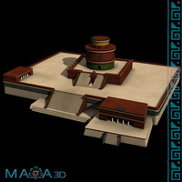 3d model el caracol chichen itza