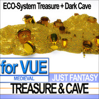 3d medieval cave gold treasure
