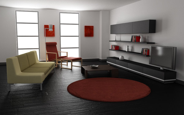 awesome black living room 3d model | 3d living room 02a